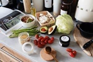 Healthy ingredients for food preparation, like an air fryer meal.