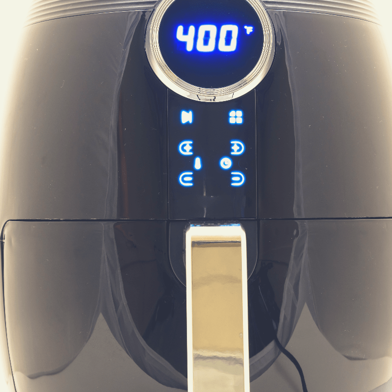 Close up of LCD display of an air fryer