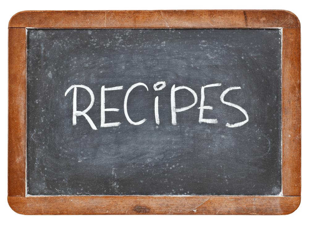 Recipes on a blackboard