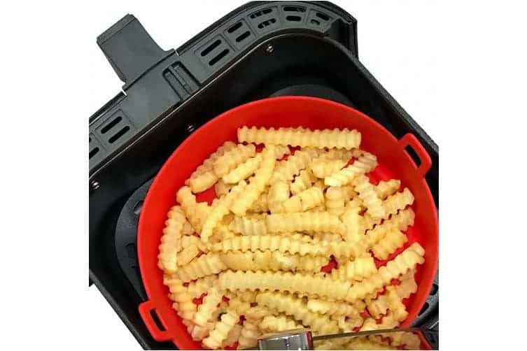 air fryer silicone pot in red colour with cooked fries