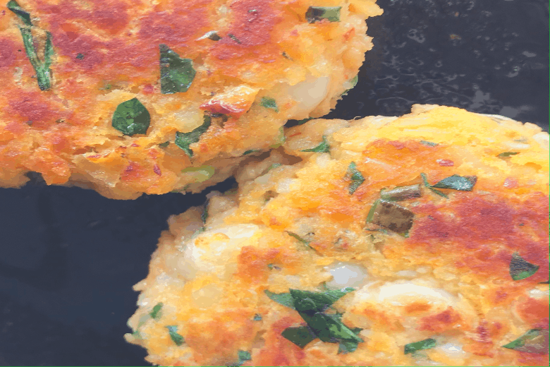 Golden sweet potato and white bean patty cooked in an air fryer