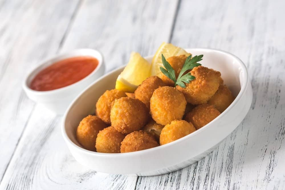 air fried scallop croquettes or crispy arancini balls, cooked in an air fryer